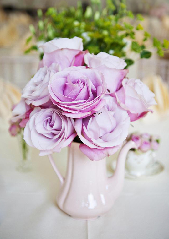 pink roses in coffee pot