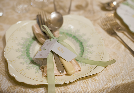 Green floral plate and cutlery