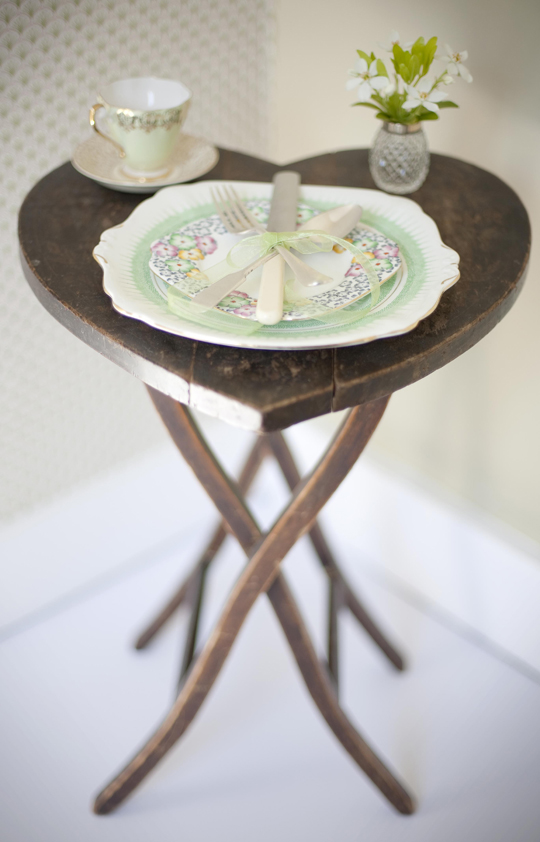 place setting on heart table